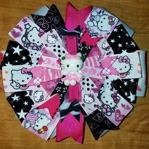 Other - Handmade Hot Pink and Black Hello Kitty Hair bow
